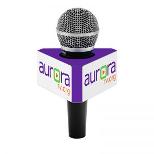 Aurora TV 6-sided mic flag on a handheld microphone