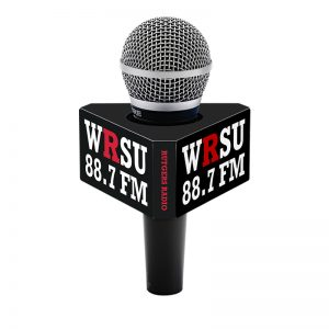 Rutgers 6-sided mic flag on a handheld microphone