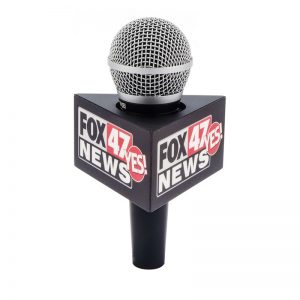 Fox 47 triangle mic flag