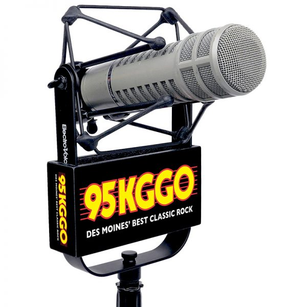 KGGO Studio Mic Flag used with EV 309 shock mount