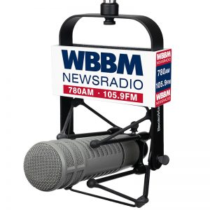 WBBM Studio Mic Flag used with EV 309 shock mount