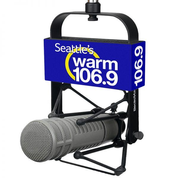 WARM 106.9 Studio Mic Flag used with EV 309 shock mount