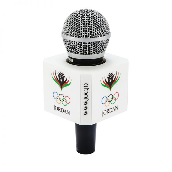 8 sided Jordan Olympic mic flag on a Handheld microphone