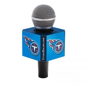 8 sided Titans Mic Flag on handheld microphone