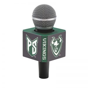 8-sided Portland State Vikings mic flag on handheld microphone