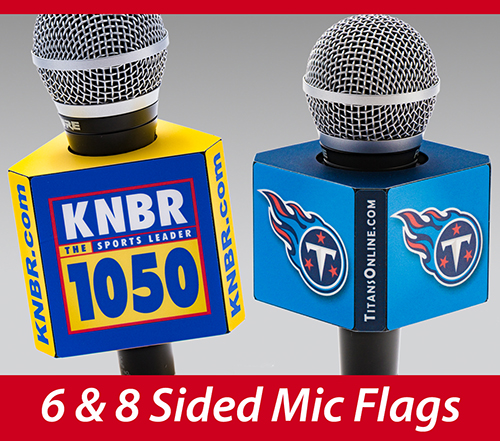 6- 8-sided mic flags for standard handheld ENG microphones