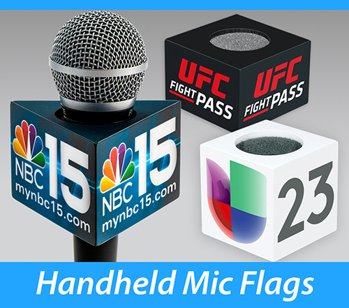 Square, rectangle and triangle mic flags used for standard handheld ENG microphones