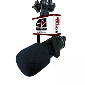 Studio mic flag on a MXL BCD-1 shock mount